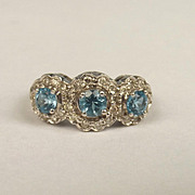 9ct Yellow Gold Aquamarine & Diamond Cluster Ring UK Size N US 6 ½