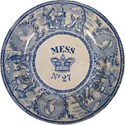 A Victorian Royal Naval Mess Plate 24cm Number 27