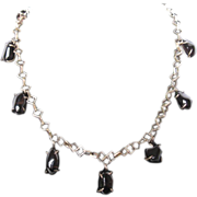Handcrafted Antique Sterling Silver Arts and Crafts Obsidian Apache Tears Necklace