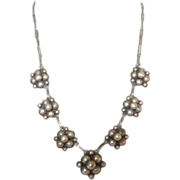 Art Deco Vintage Sterling Silver Bubble Necklace