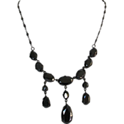 Antique Victorian Sterling  Hematite Mourning  Necklace
