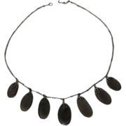 Art Deco Quartz Silver Necklace