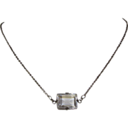 Art Deco Faceted Crystal Sterling Necklace