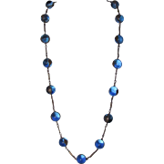 Antique French Blue Repousse Pools of Light Necklace