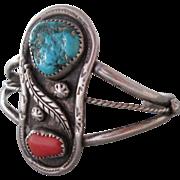 SALE Vintage Silver Turquoise Coral Cuff Bracelet Southwestern Style