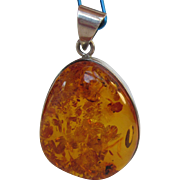 Genuine Amber set in Sterling Silver Pendant Large