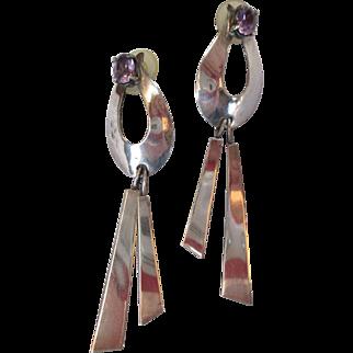 SALE Stunning Sterling Purple Amethyst Glass Earrings by Carol Felley Shoulder Dusters Bold