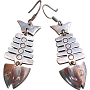 Vintage Mexican Sterling Fish Earrings Dangle Skeleton Pierced Ears Made Mexico Ethnic Tribal