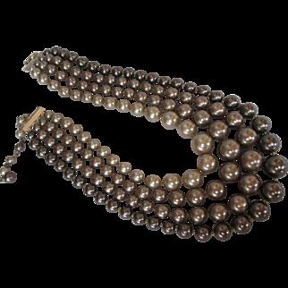 SALE Vintage Glass Pearl Necklace 4 Strands of Soft Brown Tones Mocha Latte Mad Men 50s 1950s era
