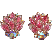 Gorgeous Vintage Pink Givre & Aurora Borealis Rhinestone Clip Back Earrings Stunning Sparkle 5