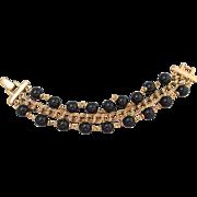 "Stylish Vintage NAPIER triple strand Bracelet 8"" Black Gold Finish Links PAT #"