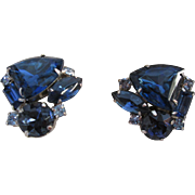 Gorgeous Sapphire Blue Vintage Earrings Clip Back Style Prong Set Stacked Large Stones