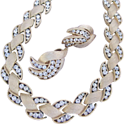 Beautiful Vintate Trifari Set of Necklace and Earrings Brushed Gold with Rhinestones Stylized