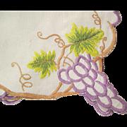 SALE Genuine Irish Linen Table Topper Grape Theme Embroidery Fine Quality