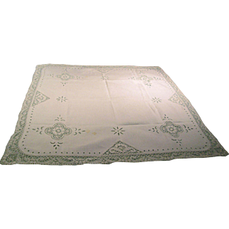 Antique Irish Linen Tablecloth Supper Cloth Ireland Sourced RARE