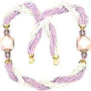 SALE Vintage 1970's Purple & White Glass Seed Bead Necklace with Lucite Embellishments New