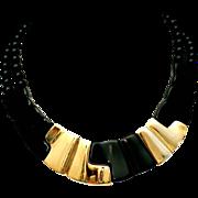 SALE Napier Black Lucite Thermoset & Gold Plated Sculptural Modernist Collar Necklace 1980
