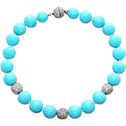 SALE Vintage Couture Kenneth Jay Lane Turquoise Lucite Melon Bead Necklace with Pavé Glitter