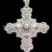 SALE Vintage Crown Trifari Magnificent Bold Silver-Tone Filigree Cross Pendant & Chain