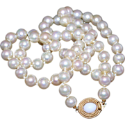 """SALE Early Ciner Vintage Creamy Glass Pearl Hand Knotted Matinee Length Strand 22"""" Signed"""