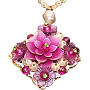SALE Vintage West Germany Orchid Lucite, Rhinestone & Plastic Beaded Floral Pendant with .