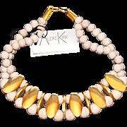 SALE Vintage 1980s Alexis Kirk Blonde Wood & Polished Gold Tone Modernist 2-Strand Collar ...