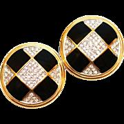 SALE Vintage Guy Laroche French Couture Rhinestone & Enamel Clip Statement Earrings