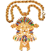 SALE Vintage Larry Vrba for Castlecliff Aztec-Mayan Warrior Pendant Necklace with Double Row .