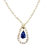 SALE Vintage 1940s Art Deco Style Sapphire Blue Crystal & Clear Rhinestone Drop Necklace Franc
