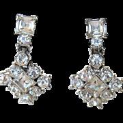 SALE Vintage Bogoff  Signed 1940s Prong-Set Rhinestone Drop Earrings – Mint!