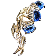 Vintage Little Nemo Pin/Brooch with Blue Glass Half-Moon Rhinestones Set in Gold Washed ...