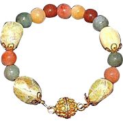 SALE Artisan Crafted Tumbled Yellow Opal Gemstones and Natural Nephrite Jade Bead Bracelet