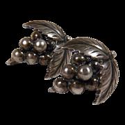 SALE Vintage Sterling Signed John L. Denmark Grape Cluster Screwback Earrings