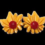 SALE Unique Bakelite Double Flower Butterscotch and Burnt Orange Centered Pin
