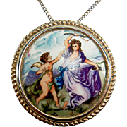 SALE Vintage Signed French Limoges Painted Venus and Cupid Pendant and Necklace