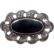 SALE Nice Sized Vintage Onyx and Sterling Silver Brooch/Pin