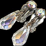 SALE Vintage Aurora Borealis Beaded Dangle Style Silver Toned Clip Earrings