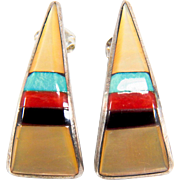 SALE Vintage Zuni Inlay Mother of Pearl, Turquoise, Coral, and Onyx Sterling Silver Earrings