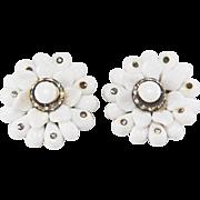 SALE Vintage 1940s Western Germany Milk Glass and Rhinestone Clip Style Earrings