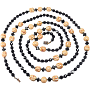 SALE Vintage Black Faceted Glass and Ivory Colored Beaded Long Length Necklace