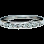Vintage Platinum .29ct Diamond Wedding Band Anniversary Ring - Size 5.5