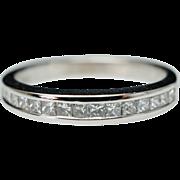 Vintage .33ct Princess Cut Diamond Wedding Anniversary Band 18k White Gold Size 5.5