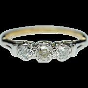 3 Stone DiamondEngagement Ring & Anniversary Wedding Band 14k Yellow Gold