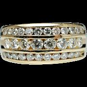 Vintage Three Row 1.03ctw Diamond Wedding Band 14k Yellow Gold
