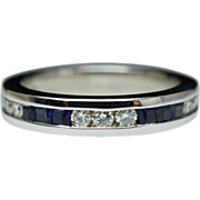 Vintage Sapphire & Diamond Anniversary  Band 14k White Gold Wedding Band