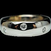 Diamond Wedding Band Anniversary  Ring Round Flush Diamonds 14k White Gold