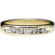 Vintage .25ct 5 Stone Diamond Wedding Anniversary Band Ring in 14k Yellow Gold - Size 7