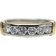 Vintage Diamond Anniversary Band in 14k White & Yellow Gold