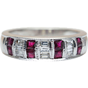 Vintage Ruby & Baguette Diamond Anniversary Band 14k White Gold Wedding Ring