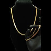 Estate 14k Yellow Gold Chain Bracelet & Necklace Jewelry Set